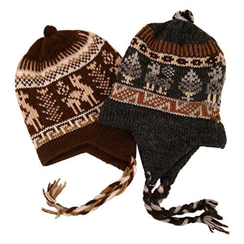 #2995Chullo Peru Ski Hat Alpaca Wool Winter Hand Knit Beanie Mountain Fair Trade
