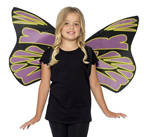 [Smiffy's Kids Wings, Glow in the Dark, Black and Purple, One Size, 44289] (Dark Fairy Wings Costume)