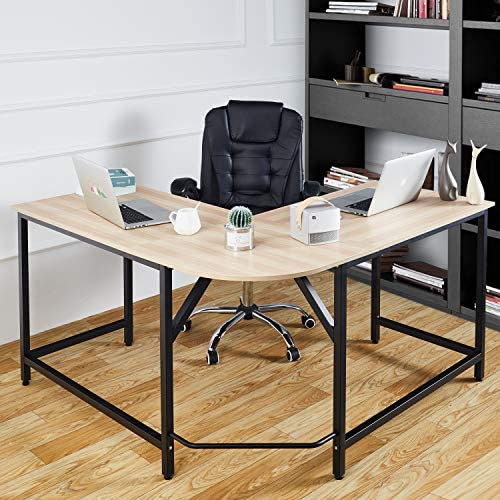 McNeil L-Shaped Corner Table 55 55 Computer Desk Home Office Workstation PC Laptop Study Writing