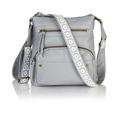 Ellie's Tribe Bohemian Vegan Leather Crossbody Bag Multi Pocket Messenger Purse & Lace Long Strap (Grey) by Ellie's Tribe