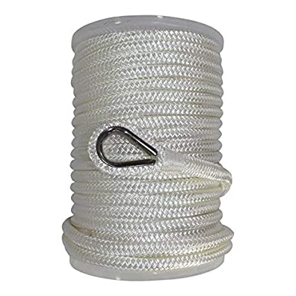 SGT KNOTS Nylon Anchor Rope w/Thimble White/Black Double Braid Nylon Anchor  Line (3/8-1/2 in) - Braided Boat Anchor Rope - Marine Rope Lines for