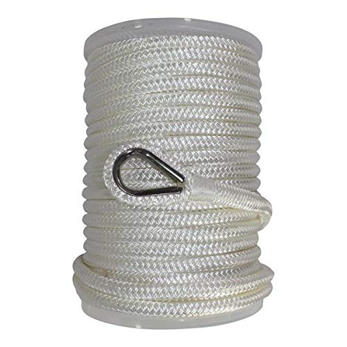 SGT KNOTS Nylon Anchor Rope w/Thimble Double Braid Nylon Anchor Line - Braided Boat Anchor Rope - Marine Rope Lines for Anchors - Ancor Ropes for Boats (White - 3/8 inch x 100ft)