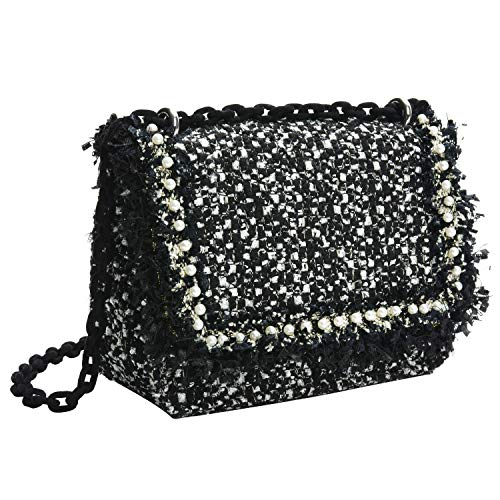 - PACO TORA Tweed Crossbody Bags for Women PU Leather Pearls Shoulder Bag for Women Teen Girls - Classic Collection