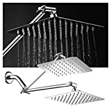 Dream Spa Shower Head HotelSpa Large 8 inch Stainless Steel Slimline Square Rainfall Showerhead with Solid Brass Adjustable Extension Arm