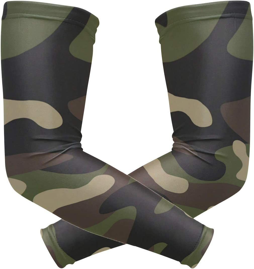 ALAZA Camouflage Green Cooling Arm Sleeves Cover Uv Sun Protection for Men Women Running Golf Cycling Arm Warmer Sleeves 1 Pair