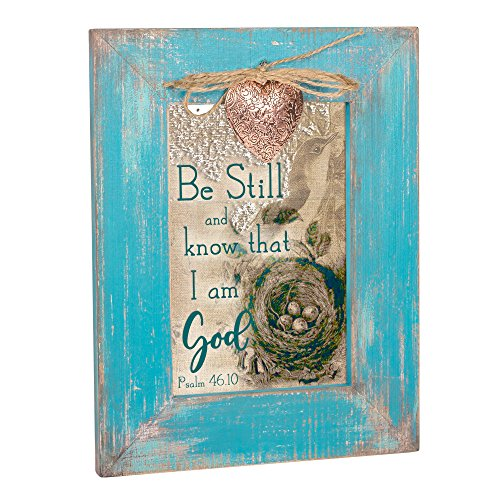 Cottage Garden Be Still and Know That I Am God Teal Distressed Locket Easel Back Picture Frame