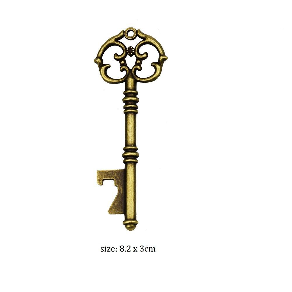 Apribottiglie con chiave a forma di scheletro vintage da 50 pezzi con 50 pezzi di tessera per scortici e spago per bomboniere oro rosa Decorazione rustica