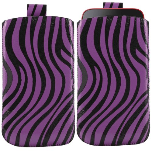 iTALKonline PURPLE BLACK ZEBRA Quality PU Leather Slip Pouch Protective Case Cover with Pull Tab for Nokia E6