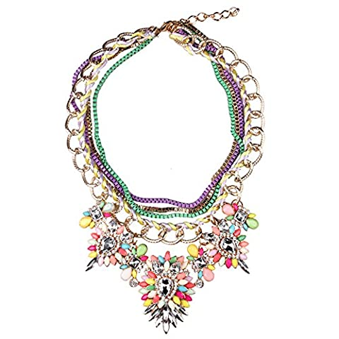 SDLM Fashion 3-Strands Chain Colorful Resin/Crystal Pendant Jewelry Flowers Necklaces - Roberto Coin Elephant Jewelry Set