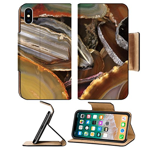 Colorful Minerals Collection (Luxlady Premium Apple iPhone X Flip Pu Leather Wallet Case IMAGE ID: 34463028 agate mineral collection as nice natural background)