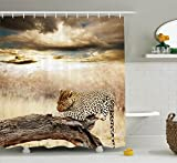 Ambesonne Safari Decor Shower Curtain Set, Leopard Resting Under Dramatic Cloudy Sky Africa Safari Wild Cats Nature Picture Print, Bathroom Accessories, 69W X 70L Inches Beige Brown