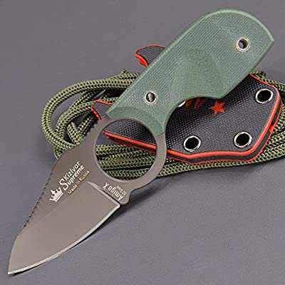 Kizlyar KK0086 Amigo XTI Coated D2 Knife with Grip, Green by CAS HANWEI :: Combat Knife :: Tactical Knife :: Hunting Knife :: Fixed Blade Knife :: Folding Blade Knife