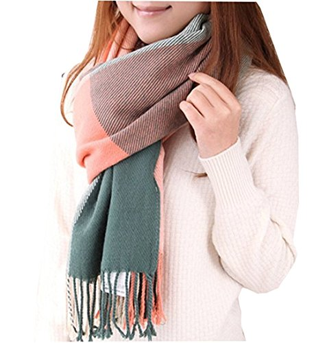 Loritta Womens Plaid Blanket Long Shawl Winter Warm Big Grid Large Scarf Scarves