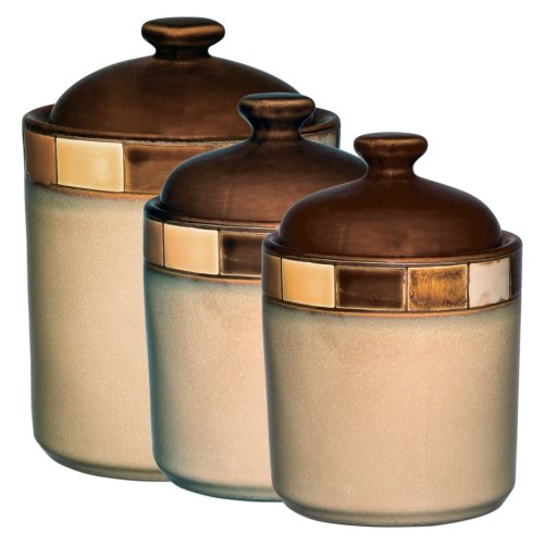3 Piece Bakers Set (Gibson Casa Estebana 3-piece Canister Set, Beige and Brown)