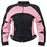 Xelement CF508 Women's Black and Pink Mesh Jacket with Advanced Level-3 Armor - Large