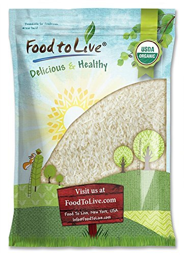 Organic Jasmine Rice by Food to Live (Raw White Rice, Whole Grain, Non-GMO, Kosher, Bulk, Product of the USA) - 10 Pounds (Difference Between Basmati And Long Grain Rice)