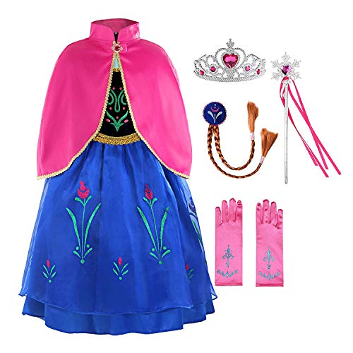 Padete Little Girls Anna Princess Dress Elsa Snow Party Queen Halloween Costume (5 Years, Navy Blue with Accessories)