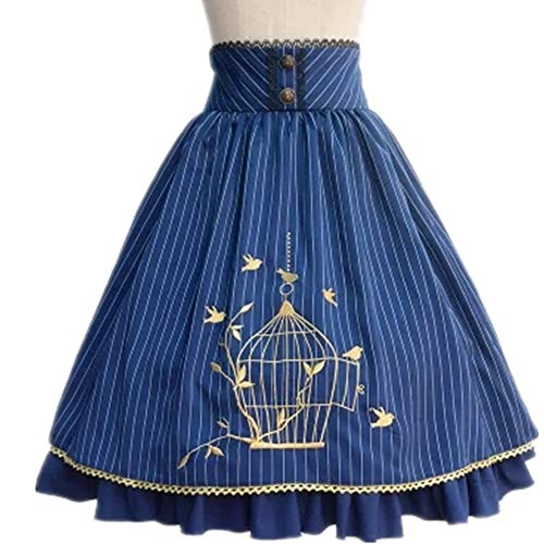 (TanQiang Classic Lolita Skirt Vintage Style Stripes Skirt With Bird Cage Embroidery (Blue,)