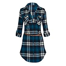 Women's Long Sleeve Button Down Plaid Flannel Belted Tunic Shirt Dress…