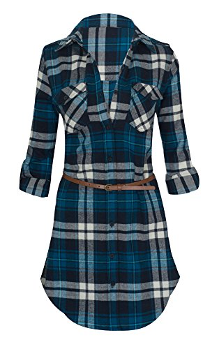 Women\'s Long Sleeve Button Down Plaid Flannel B...