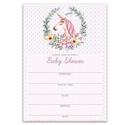 Baby Shower Invitations Unicorn Gender Neutral Floral Wreath Blank Invites with Envelopes ( Pack of 25 ) Large 5x7