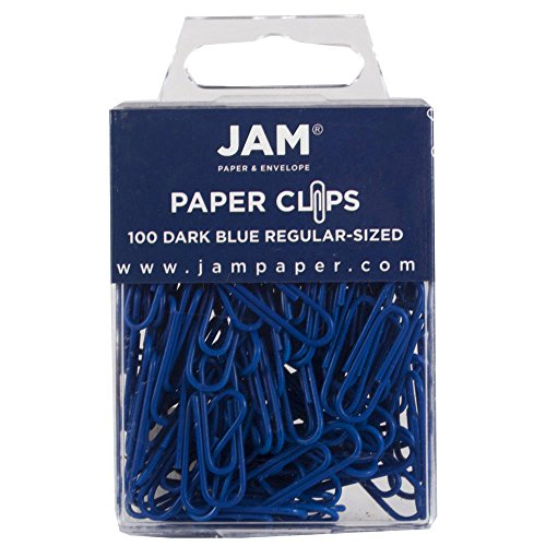JAM PAPER Colorful Standard Paper Clips - Regular 1 Inch - Dark Blue Paperclips - 100/Pack