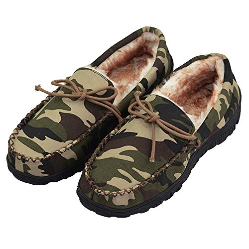 Mens Moccasin Slippers with Thick Plush Lining Indoor Outdoor Slip On Shoes with Rubber Sole (FBA)
