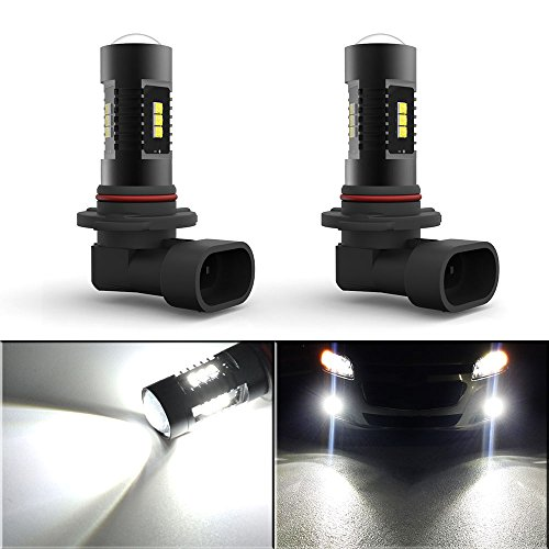 YITAMOTOR 2x White 9006 HB4 60W High Power LED Car Fog Lights Bulbs with Projection 1000LM, 6000k, 12v - 24v, non-polarity