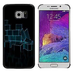 Shell-Star Arte & diseño plástico duro Fundas Cover Cubre Hard Case Cover para Samsung Galaxy S6 EDGE / SM-G925 / SM-G925A / SM-G925T / SM-G925F / SM-G925I ( Abstract Neon Blue Bricks )