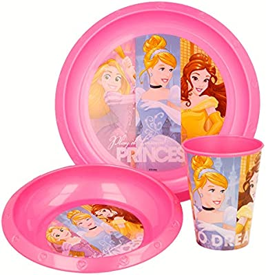 SET EASY 3 PCS. (PLATO, CUENCO Y VASO 260 ML) EN ESTUCHE PRINCESAS DISNEY FRIENDSHIP ADVENTURES: Amazon.es: Hogar