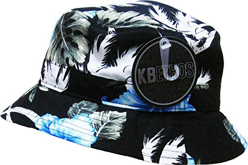 KBETHOS KBM-006 Blk-Blu Floral Print Bucket Hat Hawaii Hat - Blk Blu And
