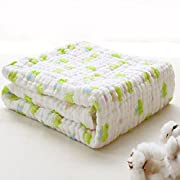 Binztec Muslin Cotton Warm Baby Bath Towels Animal Printing Natural Antibacterial soft Comfortable Healthy Rapid Absorption 41inches41inches-1pcs (Green frog)