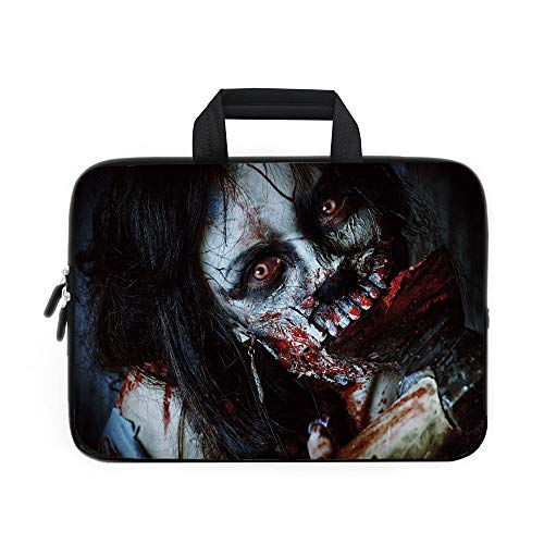 Zombie Decor Laptop Carrying Bag Sleeve,Neoprene Sleeve Case/Scary Dead Woman with Bloody Axe Evil Fantasy Gothic Mystery Halloween Picture/for Apple Macbook Air Samsung Google Acer HP DELL Lenovo Asu]()