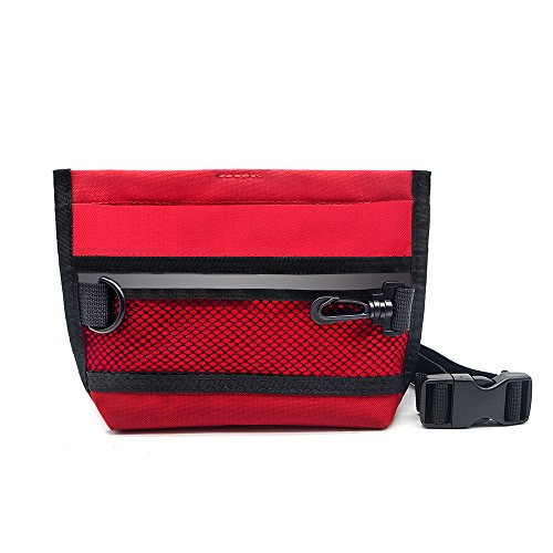 Cheap Wellbro Reflective Dog Treat Pouch, Handy Pet Training Waist Bag, Featured with Spring Hinge Closure and Mesh Pocket, Easy to Carry Treats and Toys, For Rapid Reward to Pets, Red