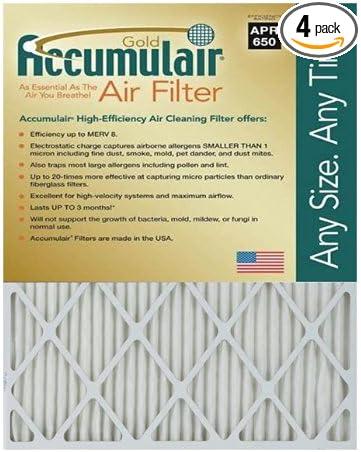 Accumulair Gold 18x24x1 17.75x23.75 2 Pack MERV 8 Air Filter//Furnace Filter
