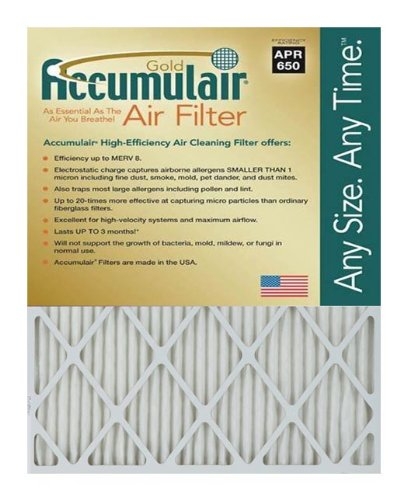 Accumulair FB23.25X29.25A_2 Actual Size Gold 1'' Filter MERV 8, 23.25'' L x 29.25'' W, 2 Piece