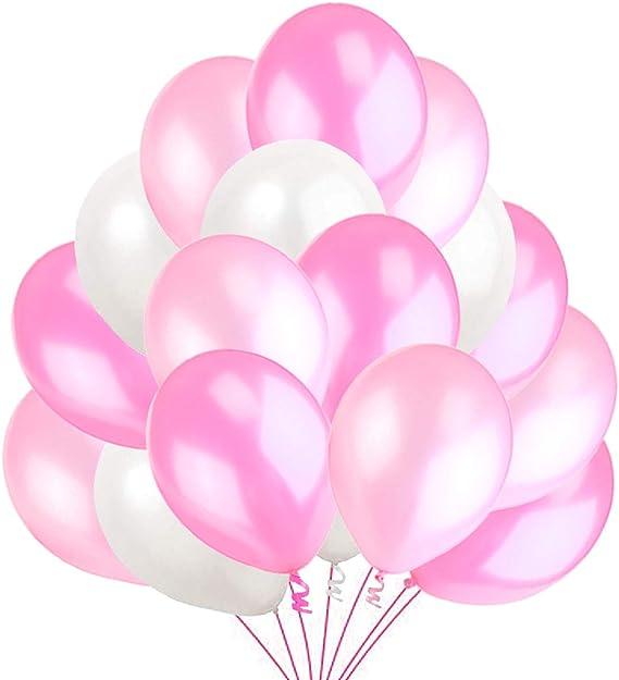 50 Globos Rosa Blanco y Rosato Brillante de Látex de 36 cm. Globos de Helio de 3,2g. Decoraciones y Accesorios para Fiesta de Cumpleaño, Bautizo y Boda