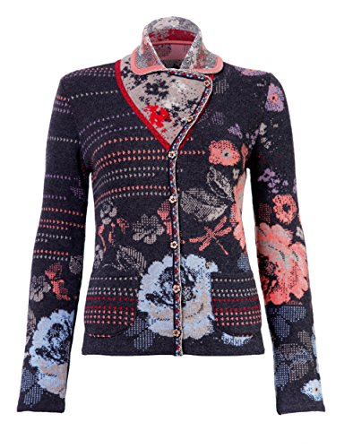 - IVKO Short Lambswool Sweater wth Floral Pattern, Front Button Closure, Charcoal Grey, US 8 - EUR 38