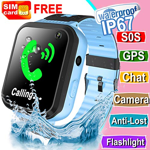 Kids Smart Watch [Free SIM Card] IP67 Waterproof Kids Phone Watch with GPS Tracker SOS Safety Call Anti-Lost Camera Learning Games Toy Children Smartwatch Holiday Birthday Gift for Girls Boys, Blue