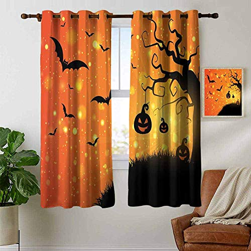 petpany Blackout Curtains for Bedroom Halloween,Magical Fantastic Evil Night Icons Swirled Branches Haunted Forest Hill,Orange Yellow Black,Darkening Grommet Window Curtain 1 Pair 52