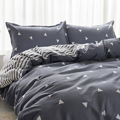 Uozzi Bedding 3 Piece Triangle Duvet Cover Set Queen,