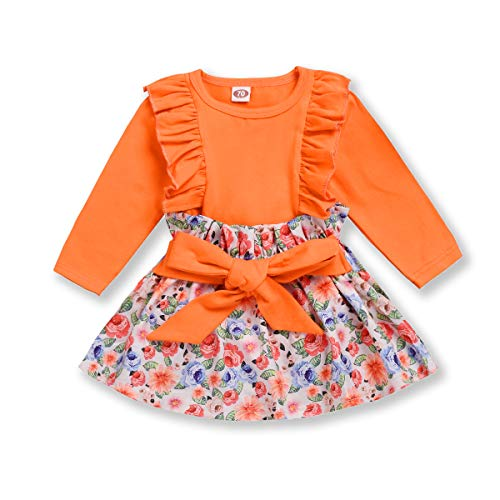 Newborn Baby Girl Fly Sleeve Shirt Top+Floral Tutu Skirt Bowknot Set Outfit Autumn Summer Clothes (Orange, 18-24 Months) (24 Mo Tutu Outfit)