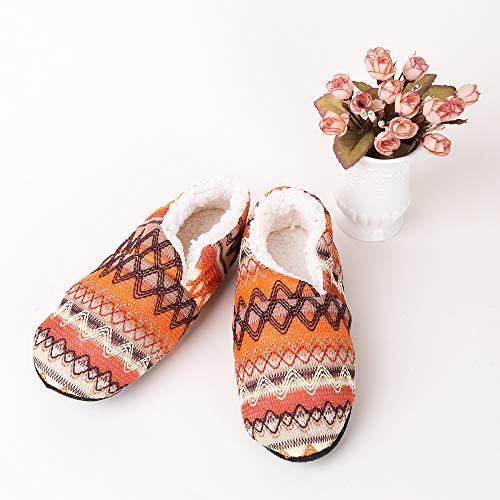 dérapant Anti Confortable Pantoufles 1 Vertvie Orange Chaudes Femme Noël Fleece Souples Chaussures Hiver 8zZqB1zv