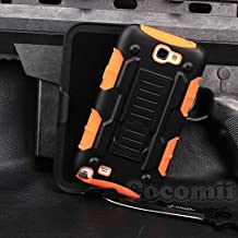 Galaxy Note 2 Case, Cocomii Robot Armor NEW [Heavy Duty] Premium Belt Clip Holster Kickstand Shockproof Hard Bumper Shell [Military Defender] Full Body Dual Layer Rugged Cover Samsung N7100 (Orange)