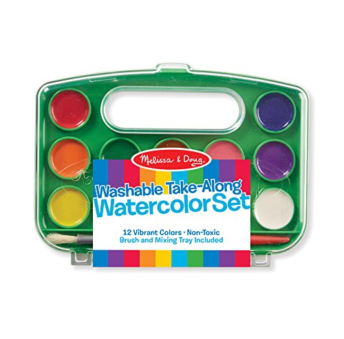 Melissa & Doug Take-Along Watercolor Paint Set - 12 Washable Paints