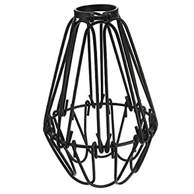 EFINEHOME Efine Replacement Lofe Minimalist Vintage Industrial Hanging Lamp Cage shade for Pendant Lamp E27 Metal Opening and Closing Lamp Guard Black No Wire