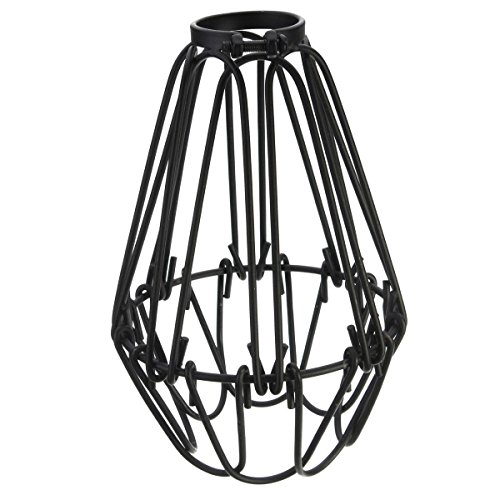 EFINEHOME Efine Replacement Lofe Minimalist Vintage Industrial Hanging Lamp Cage shade for Pendant Lamp E27 Metal Opening and Closing Lamp Guard Black No Wire (Only Pendant Shades)