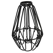 Efine Replacement Lamp Cover Lofe Minimalist Vintage Industrial Hanging Pendant Light Fixture DIY Wire Lamp Guard Metal Lampshades Kit (Black LM052B)