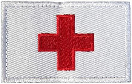 ベルクロワッペン 国旗 パッチ (スイス 白)