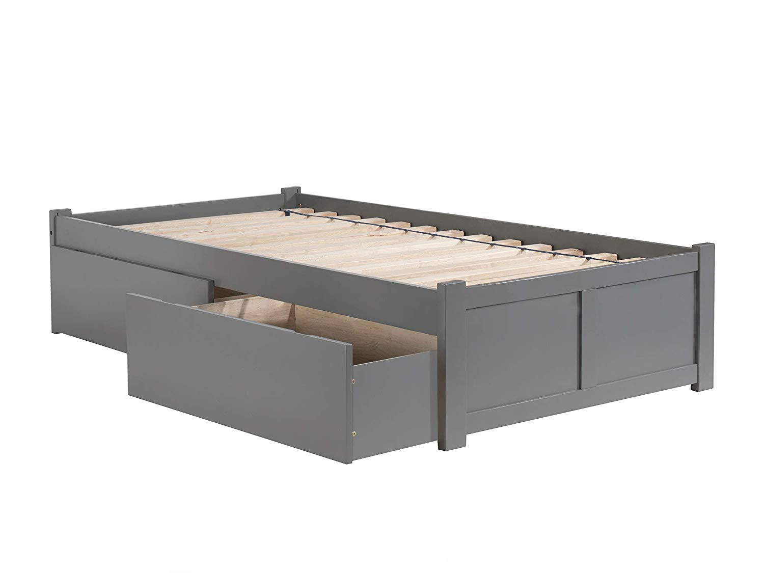 Atlantic Furniture Concord Platform Bed with 2 Urban Bed Drawers, Twin XL, Grey